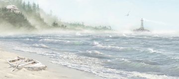 Picture of Lighthouse in the Mist - Canvas